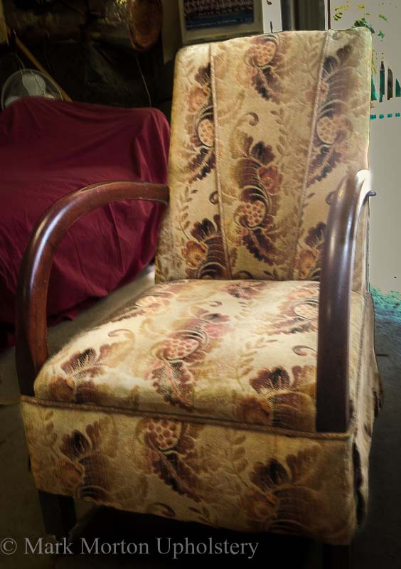 Teal arm chair before upholstery photo
