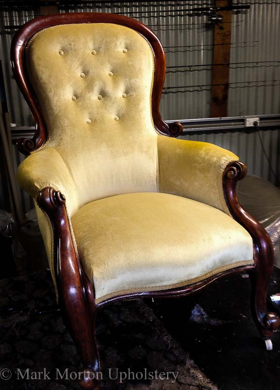 Gold chair upholstery finished