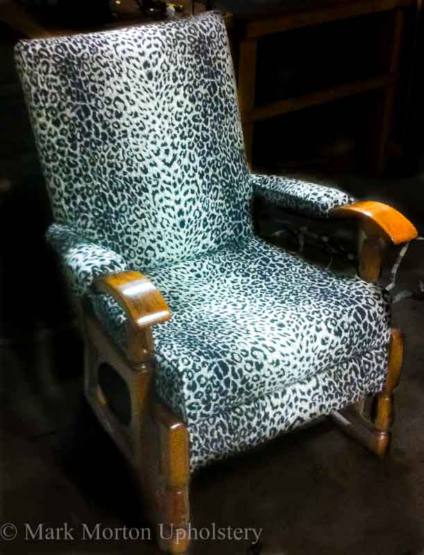 Animal print chair upholstery finished