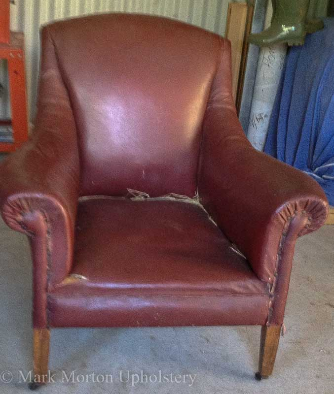 Leather armchair before upholstery shot