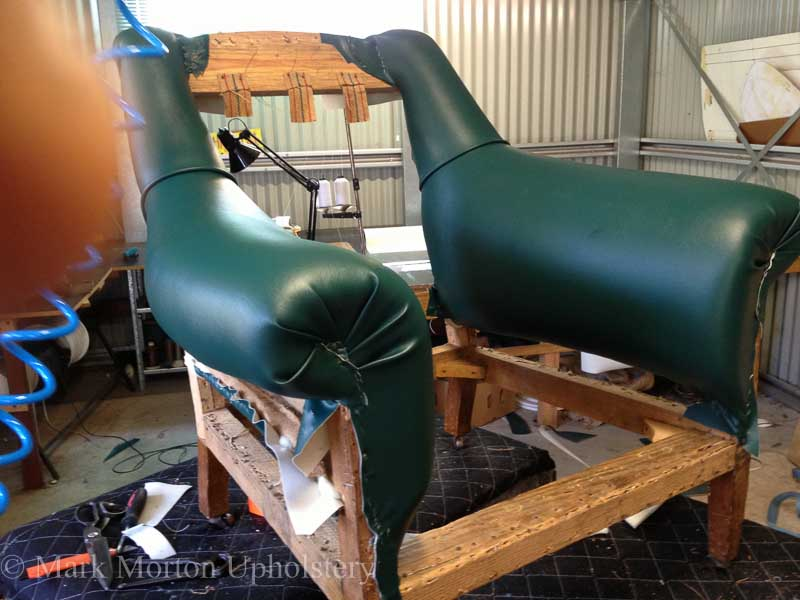 Leather armchair in process