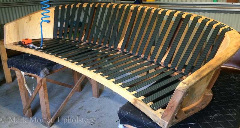 Blue sofa upholstery in progress