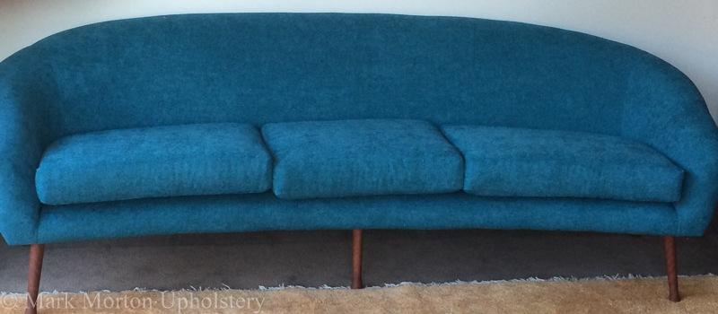 Blue sofa upholstery finished