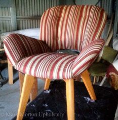 Striped chair upholstering finished